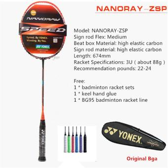 YONEX NANORAY-ZSP Full Carbon Single Badminton Racket 22-24 PoundsSuitable for Amateur and Beginner(Chinese Version)