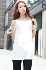 6839# Spring Summer New Korean Students In The Class Wear Couples Dress Shirt T-shirt Pure Modal Printed Tees (White)