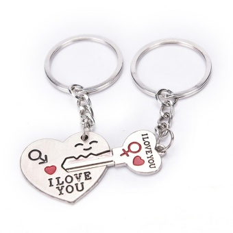 1 Pair I LOVE YOU Letter Keychain Heart Key Ring Souvenirs Valentine's Day Gifts Silver - intl
