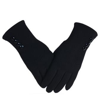 1 Pair of Women Touch Screen Sensitive Gloves Cashmere Solid ColorWinter Warm Glove Black - intl