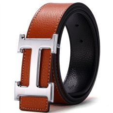 120CM (+ - 5CM) Fashion Style Men Cowskin Leather Belt MBT16H-6 (Brown + Silver Buckle) - Intl