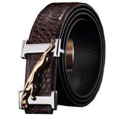 120CM (+ - 5CM) Men Crocodile Cowskin Leather Belt MBT16A-2 Coffee