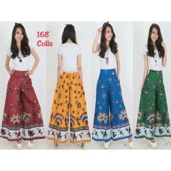 168 Collection Celana Friska Kulot Batik Pant-Maroon