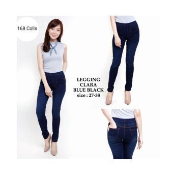 168 Collection Celana Jegging Jumbo Clara Jeans Pant-Biru Tua