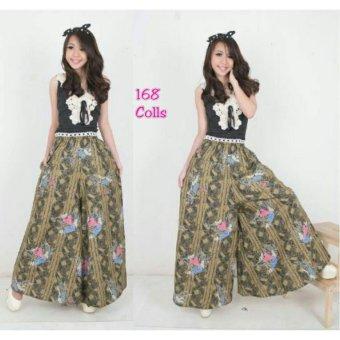 168 Collection Celana Jessica Kulot Rok Batik-Hijau