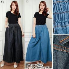 168 collection Celana Jumbo Kulot Jamena Jeans Pant-Biru