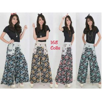168 Collection Celana Pamela Kulot Batik Pant-Hijau
