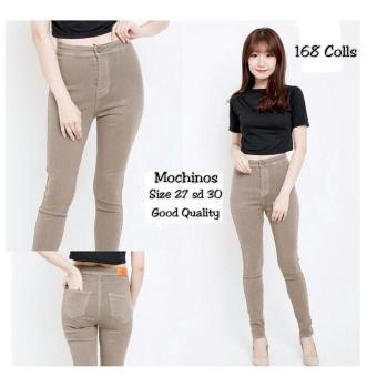 168 Collection Celana Regular Mochinos Scratch Jeans Pant-Coklat