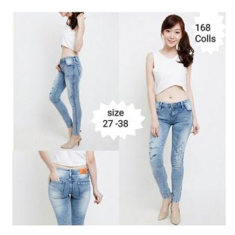 168 Collection Celana Regular Snowy Jeans Pant-Biru Muda