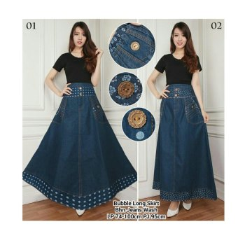 168 Collection Rok Maxi Payung Polkaflower Jean Skirt-Biru Polkadot 01