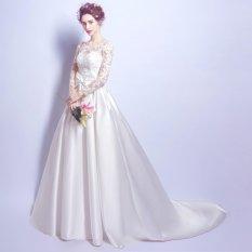 1704003 Putih Satin Ekor Gaun Pengantin Merah Wedding Gown Wedding Dress