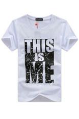 2015 New Arrive100% Brand Cotton Men T-Shirts Printed Fashion Short Sleeve T-Shirt (White)