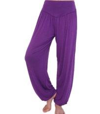 2015 New Women Casual Harem Pants High Waist Sport Pants Dance Club Wide Leg Loose Long Bloomers Trousers Plus Size Purple S-3XL (Intl)