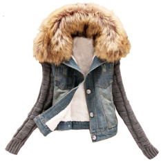 2015 New Women's Autumn Denim Jacket Women Winter Coat Slim Yarn Large Fur Collar Lamb Cotton Denim Outerwear Jeans 4XL - Intl