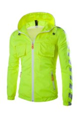 2015 The New Fashion Printing Waterproof Jacket Flimsy Men's Coat (Fluorescent Green) (Intl)