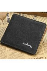 2016 Baellerry Fashion Canvas Wallet Men Short Clear Color High Quality Wallet Canvas Trifold Wallet Purses Brand Designer Walet (Black) - Intl