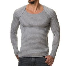 2016 Mens T Shirt Casual Slim Fit T-Shirts Men Striped T-shirt Homme Plus Size S-XL Brand Clothing Men Solid Tops Grey - Intl