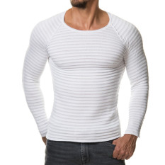 2016 Mens T Shirt Casual Slim Fit T-Shirts Men Striped T-shirt Homme Plus Size S-XL Brand Clothing Men Solid Tops White - Intl
