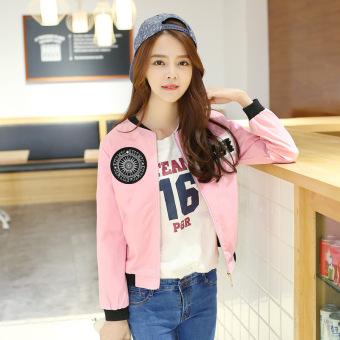 2016 New Autumn Korean Fashion Coat Stitching Jacket Lightweight Jackets Printing Long Sleeve Baseball Jackets -pink