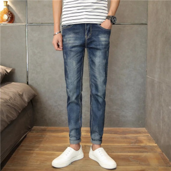 2016 New Jeans Men's Straight Slim Casual Pants Denim Jean Pants Skinny Trousers -blue - Intl