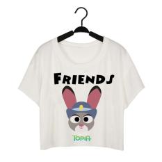 2016 NEW Summer Zootopia Judy Kawaii Crop Top T-shirt Cartoon Anime Printing Short O-neck T Shirt Couple Girlfriends T Shirt Women - Intl