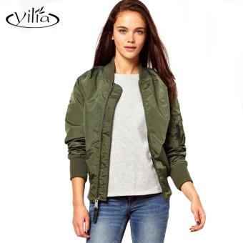97785365a Harga 2016 New Women Bomber Jacket Basic Coats Spring Solid Army ...