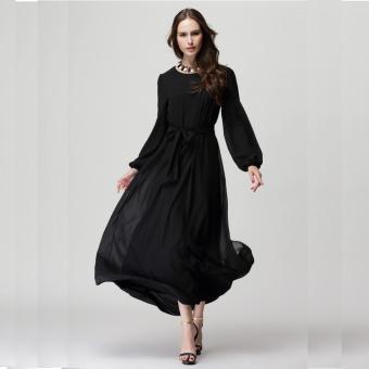2016 Summer New Fashion Women Long Sleeve Casual Loose all-match Muslim Dress (Black) - intl