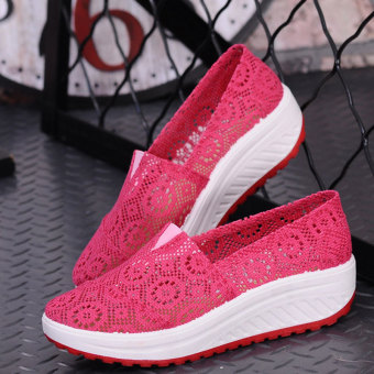 2016 Summer Women Shoes Hollow Females Wedge Lace Shoes (Red) - Intl - Intl
