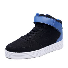 2016 Winter New Massage Shoes Men Lace Up High Top Boots Casual Shoes Man Flat Shoes (Blue)