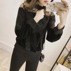 2017 Autumn And Winter The New Korean Version Of The Code Stitching Sweater Hollow Shirt Blouse Lace Bottoming Shirt Long Sleeves - Intl