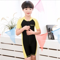 2017 New Children Swimsuit One Piece Short Sleeve Swimsuit for Boys & Girls Yellow - intl