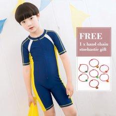 2017 New Children Swimsuit Piece Short Sleeve Swimsuit Boys and Girls Swimwear Yellow - intl
