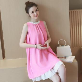 2017 New Pink Summer Maternity Dresses Chiffon Dress Pregnancy Clothes For  Pregnant Women Cute Maternity Clothing 3258f250617d