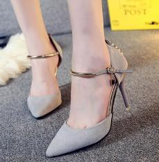 2017 new pointed fine with sexy high-heeled shoes 9 CM -grey - intl