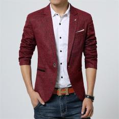 2017 New Spring Men's Casual Blazer Men's Linen Cotton Slim Fit Men's Suit Jacket Men's Classic Blazer (Wine Red) - Intl