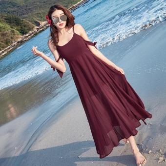 b655ef934b4c8 2017 Summer New Korean Women Fashion Sleeveless V-neck Sexy Chiffon Wine  Red Maxi Dress