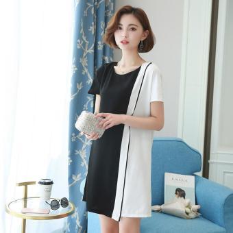 def69e9b90b 2017 Summer Plus Size New Women Fashion Brief Short-sleeved O-neck Loose  Irregular