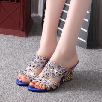 2017 Summer Wedges Sandals Shoes Rhinestone Cut Out Slipper Fashion Ladies Woman Sandals Blue Color - intl