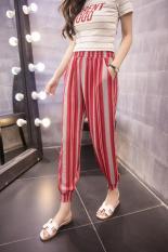2017 Women Print Casual Thin Chiffon Pants Lulu Leggings Girls Sweat Pants (Red Stripe) - Intl