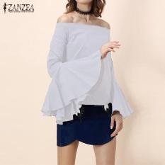 2017 ZANZEA Women Elegant Flare Long Sleeve Ruffles Off Shoulder Summer Shirt Slash Neck Casual Party Blouse Oversized (Off White) - intl