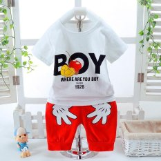 2pcs Fashion High Quality Children Clothes Sets Boy T-shirt + Red Shorts Hand Pattern Tops White - intl