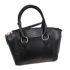 360WISH PU Leather Fashion Alligator Pattern Women Handbag Shoulder Bag Tote - Black - Intl