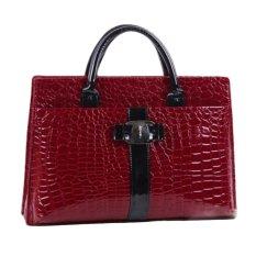 360WISH Vintage Alligator Pattern With Black Strap PU Leather Women Handbag Tote Bag (Transverse Type) - Red - Intl