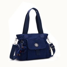 360WISH Women Fashion Waterproof Nylon Tote Handbags Crossbody Bag With Cute Plush Pendant - Dark Blue - Intl