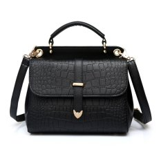 360WISH Women Love Fashion Alligator Pattern PU Leather Stereotypes Handbag Shoulder Crossbody Bag - Black