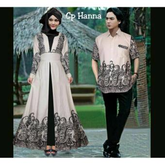 369 Kemeja dan Maxi Dress Couple Batik Hanna Bahan Katun - Cream
