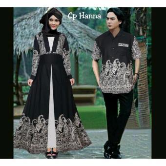 369 Kemeja dan Maxi Dress Couple Batik Hanna Bahan Katun - Hitam