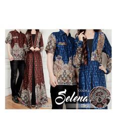 369 Kemeja dan Maxi Dress Couple Batik Selena Bahan Katun - Coklat Tua