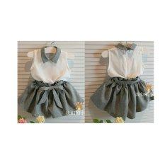 369 Setelan Trendy Baju dan Celana Anak Kiddy Abu - Gratis Belt