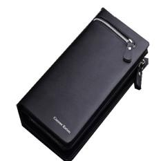 3pcs CUREWE KERIEN Brand Men's PU Leather Long Zipper Purse Business Wallet Handbag Black